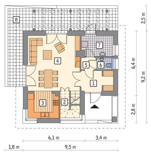Rzut parteru POW. 54,7 m²