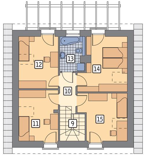 Rzut poddasza POW. 64,4 m²