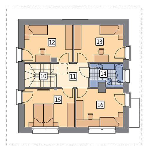 Rzut piętra POW. 64,2 m²
