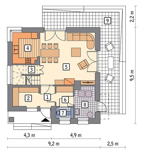 Rzut parteru POW. 58,8 m²