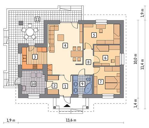 Rzut parteru POW. 97,1 m²