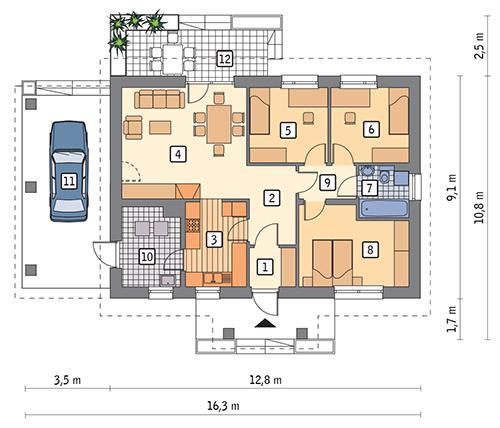 Projekt Domu M175 Południe Na łące Murator Projekty