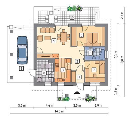 Rzut parteru POW. 75,2 m²