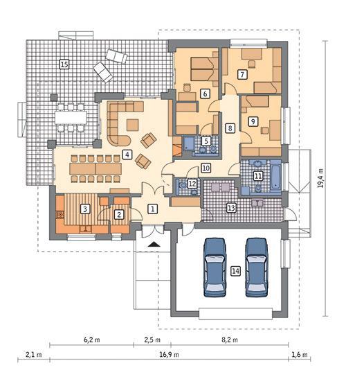 Rzut parteru POW. 183,0 m²