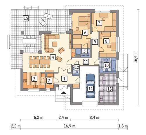 Rzut parteru POW. 162,9 m²