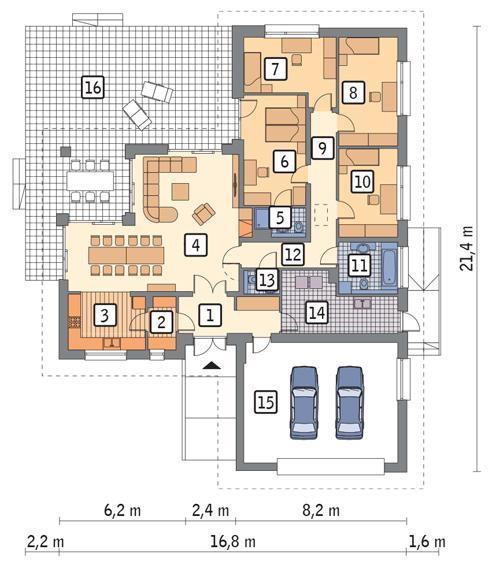 Rzut parteru POW. 196,8 m²