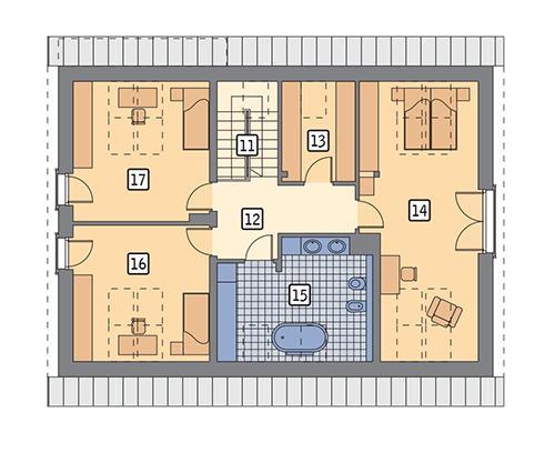 Rzut poddasza POW. 103,9 m²