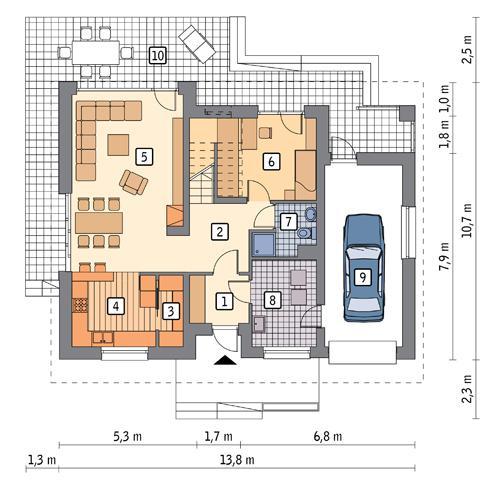 Rzut parteru POW. 99,1 m²