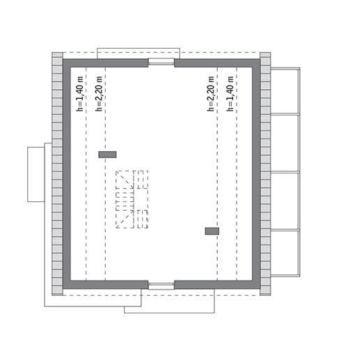 Rzut poddasza: do indywidualnej adaptacji (88,7 m2 powierzchni użytkowej)