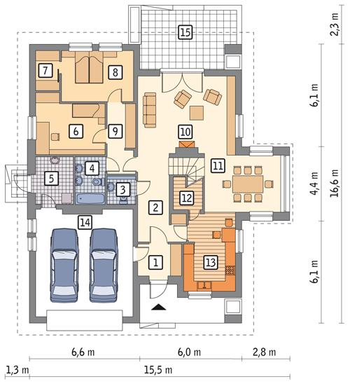 Rzut parteru POW. 157,9 m²