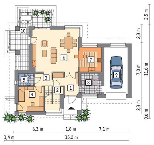 Rzut parteru POW. 94,5 m²