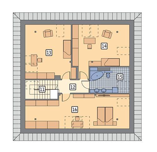 Rzut poddasza POW. 113,2 m²