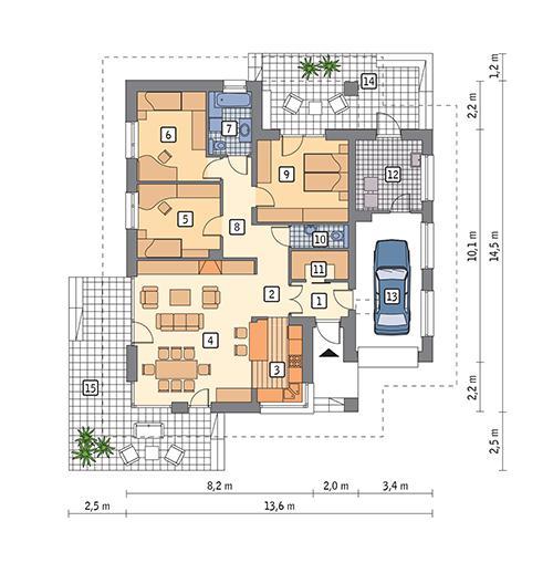 Rzut parteru POW. 127,6 m²