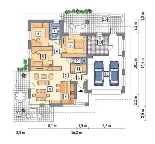 Rzut parteru POW. 150,3 m²