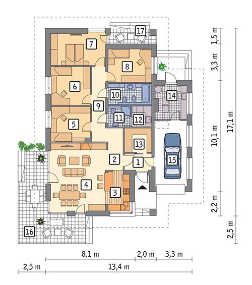 Rzut parteru POW. 149,6 m²
