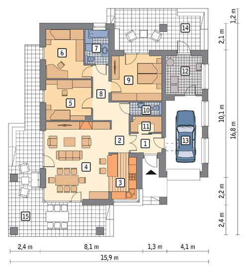 Rzut parteru POW. 127,5 m²