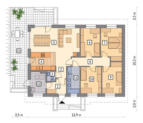 Rzut parteru POW. 112,8 m²