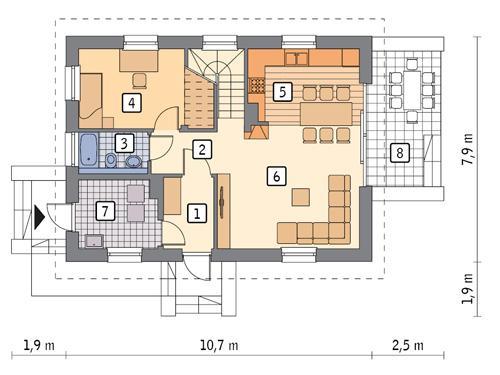 Rzut parteru POW. 61,1 m²
