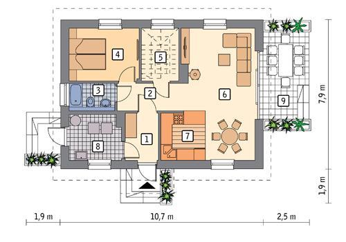 Rzut parteru POW. 62,9 m²