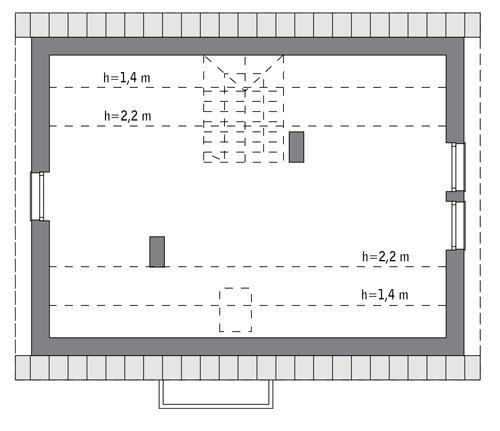 Rzut poddasza: do indywidualnej adaptacji (42,1 m2 powierzchni użytkowej)