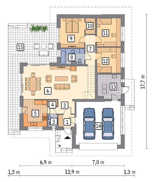 Rzut parteru POW. 152,9 m²