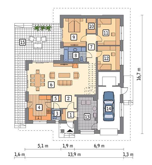 Rzut parteru POW. 146,9 m²