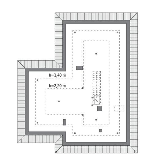 Rzut poddasza: Do indywidualnej adaptacji (79,4 m2 powierzchni użytkowej)