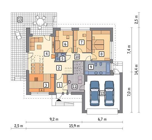 Rzut parteru POW. 144,8 m²