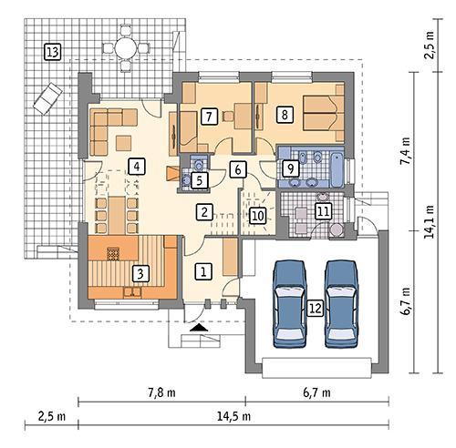 Rzut parteru POW. 130,0 m²