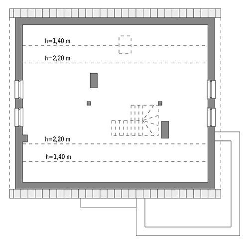 Rzut poddasza: do indywidualnej adaptacji (74,8 m2 powierzchni użytkowej)