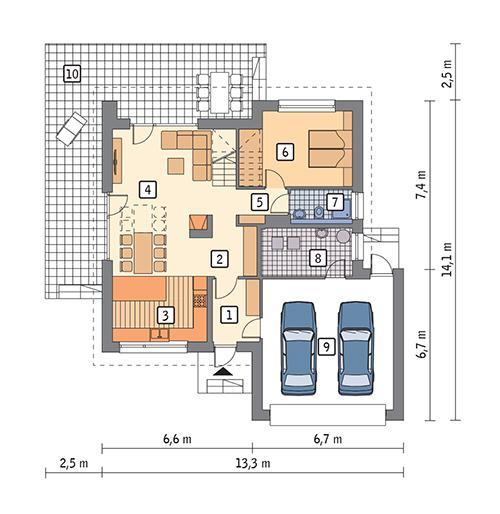 Rzut parteru POW. 117,4 m²
