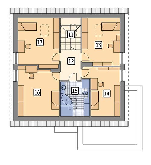 Rzut poddasza POW. 99,5 m²