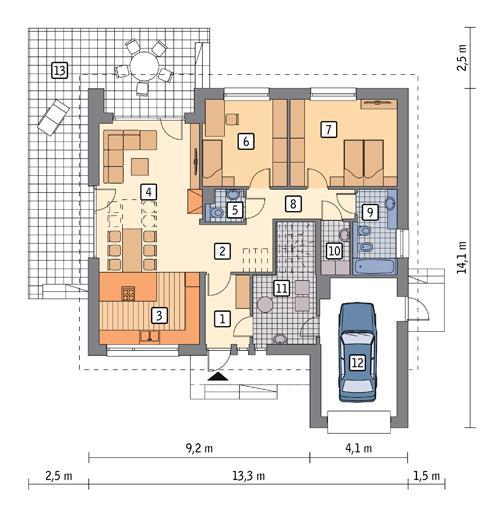 Rzut parteru POW. 121,6 m²