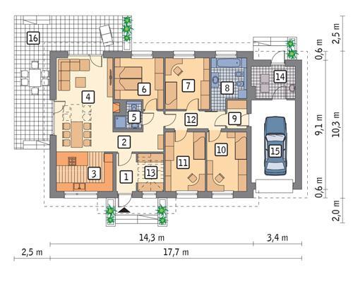 Rzut parteru POW. 139,6 m²