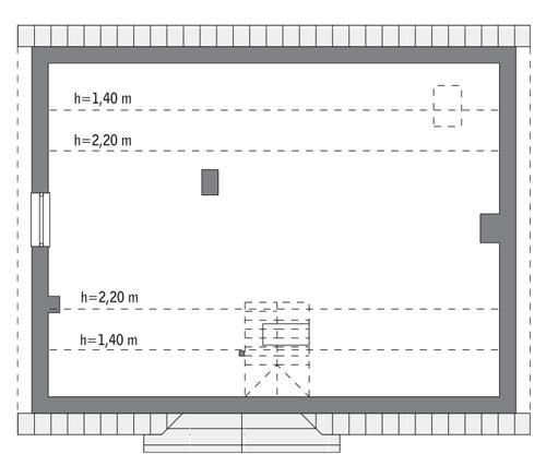 Rzut poddasza: do indywidualnej adaptacji (68,4 m2 powierzchni użytkowej)