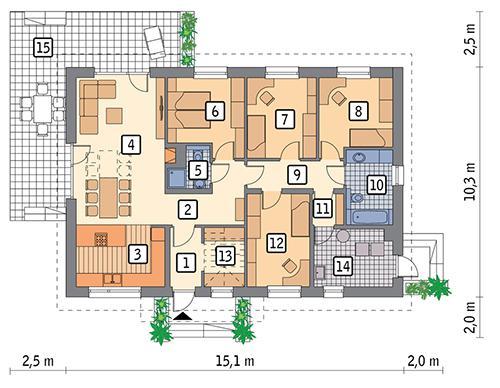 Rzut parteru POW. 121,4 m²
