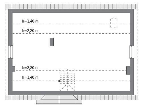 Rzut poddasza: do indywidualnej adaptacji (77,9 m2 powierzchni użytkowej)