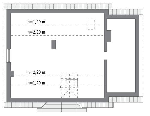 Rzut poddasza: do indywidualnej adaptacji (66,1 m2 powierzchni użytkowej)
