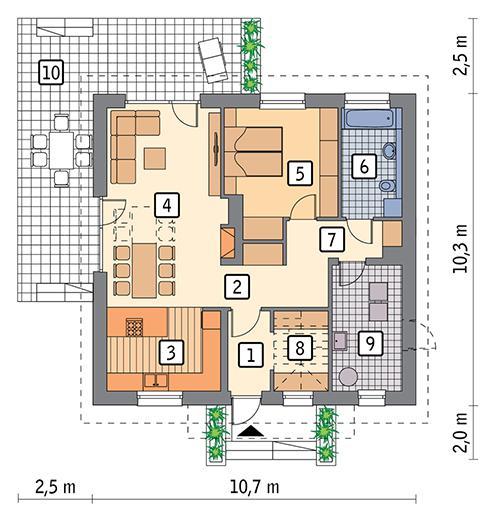 Rzut parteru POW. 84,5 m²