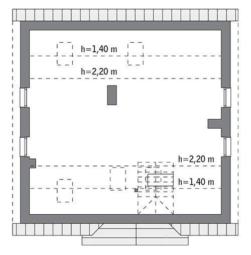 Rzut poddasza: do indywidualnej adaptacji (53,4 m2 powierzchni użytkowej)