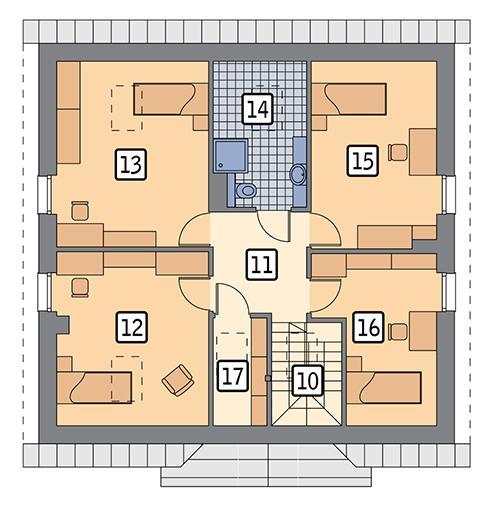 Rzut poddasza POW. 84,9 m²