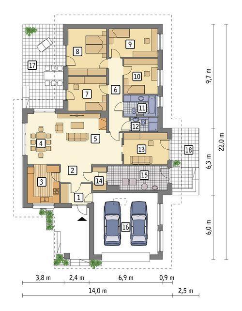 Rzut parteru POW. 185,6 m²