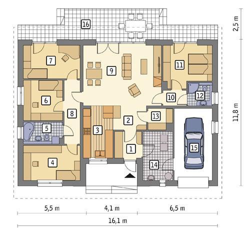 Rzut parteru POW. 143,3 m²