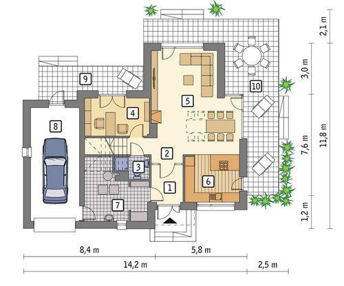 Rzut parteru POW. 95,8 m²