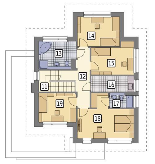 Rzut piętra POW. 86,8 m²