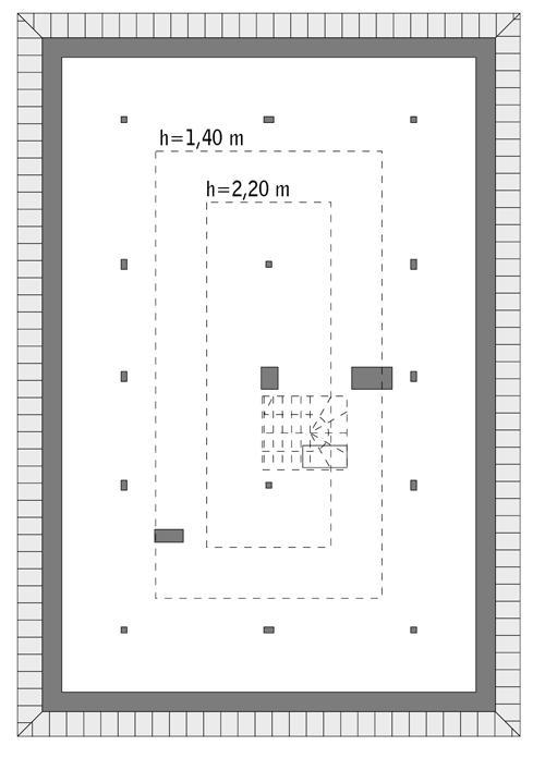 Rzut poddasza: do indywidualnej adaptacji (49,1 m2 powierzchni użytkowej)