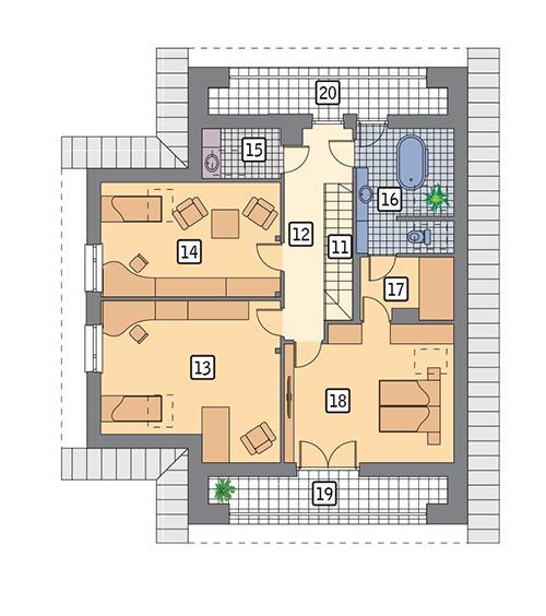 Rzut poddasza POW. 120,9 m²