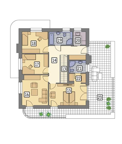 Rzut piętra POW. 120,6 m²