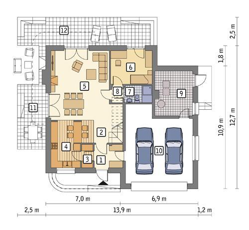 Rzut parteru POW. 121,7 m²