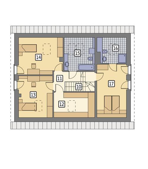 Rzut poddasza: wersja podstawowa POW. 92,0 m²